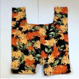 Lularoe OS leggings black & orange yellow flowers
